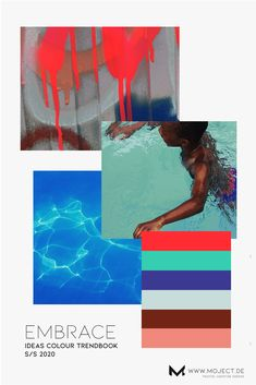 Colour trendbook activewear my contribution for IDEAS Sports Design Network moodboard summer 2020 vibrant colour story for swimwear activewear athletic styles. Inspired by water lightply colour palette fashion trend sportswear. Colour Story, Color Stories, Palette, Winter Typ, Summer Fashion Outfits, Sport Fashion, Cheap Fashion, Fashion Pants, Hijab Fashion