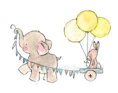 baby elephant and bunny decor--- JOYRIDE sunishine-- 13x19 Archival Art Print. $35.00, via Etsy.