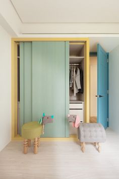 Pastel colours sliding door wardrobe. http://www.slidingworld.co.uk/storage/childrens-bedroom