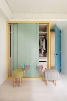Pastel colours sliding door wardrobe…