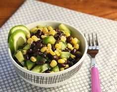Black bean and corn salad with sweet lime dressing (#vegan #glutenfree).