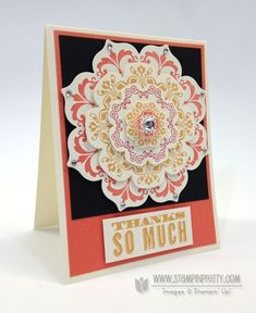 handmade thank you card ... daydream medallions stamps ... floral frames framelits ... orange, yellow and black .. stampin' up!