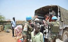 UNMISS Indian Battalion conduct an operation to extract civilians who were stranded during fighting in the Upper Nile State capital Malakal, South Sudan. UNMISS, UN Military photo.