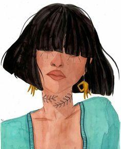 Beautiful watercolor illustration of a girl by artist Maggie Cole Portraits Illustrés, Tattoo Sketch, Art Sketches, Art Drawings, Posca Art, Aesthetic Art, Digital Illustration, Illustration Fashion, Fashion Illustrations