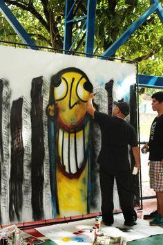Mostra de Grafite com Anderson, Hayala e Alzira. Fotos Elomar Fontes