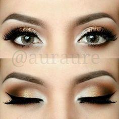 Golden Smokey eye + Winged Liner + Lashes