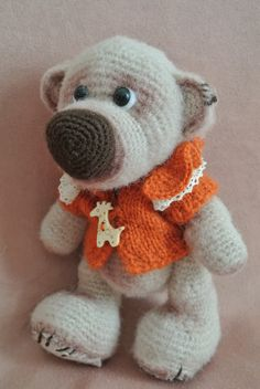 #Brown #Bear in the #orange hat, toy, amigurumi, gift for kids, for her, for the…