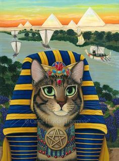 "Egyptian Pharaoh Cat - AKA The ""King of Pentacles"" for the 78 Tarot Nautical Deck. This is a card representing of power, success, and material satisfaction. I felt an Egyptian Pharaoh embodies all of those characteristics. So I decided to paint an Egyptian theme with boats and the Nile river being my nautical aspects. Prints & Gift Items featuring this artwork are available on my website. © Carrie Hawks, Tigerpixie Art Studio, Fantasy Cat Art Tigerpixie.com"
