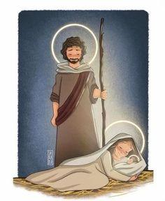 Catholic Prayers, Catholic Art, Religious Art, Christmas Drawing, Christmas Art, Religion Activities, Jesus Cartoon, Christian Paintings, Catholic Religion