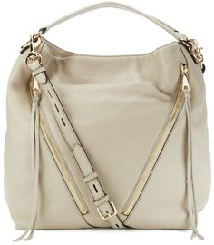 Rebecca Minkoff Women's Moto Hobo Khaki - Women's 'Moto Hobo' beige leather bag with dual angled zip pockets to the front from Rebecca Minkoff. Crafted from grained leather, the bag features a magnetic snap closure that opens to reveal a lined interior with a single zip pocket and three rear slip pockets.