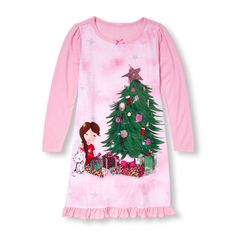 Girls Long Sleeve Christmas Morning Girl Ruffle-Hem Nightgown