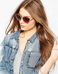 ASOS | ASOS Metal Frame Cat Eye Sunglasses With Contrast Highbrow at ASOS