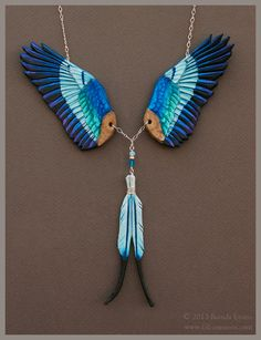 Lilac Breasted Roller Wings - Leather Necklace by windfalcon.deviantart.com on @deviantART