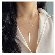 AandC Fashion Bohemia 2 Tier Stick and Round Shaped Pendant Necklace for Women and Girl. * Check out the image by visiting the link. (As an Amazon Associate I earn from qualifying purchases) Horseshoe Necklace, Coin Necklace, Short Necklace, Simple Necklace, Initial Necklace, Pendant Necklace, Dainty Necklace, Delicate Necklaces, Eyes