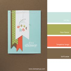 Stampin' Up! Color Combo: Soft Sky, Pear Pizzazz, Tangerine Tango, Soft Suede #stampinupcolorcombos