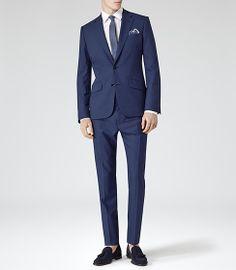 Mens Bright Blue Wool Two Piece Suit - Reiss Eris
