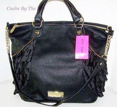 Betsey Johnson Tote Black Frilled Out Large Ruffle Shopper Handbag $95 buy it now  | eBay