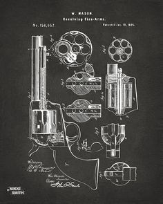 1875 Colt Peacemaker Revolver Patent Artwork - Gray Drawing by Nikki Marie Smith