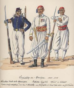 Mexican Adventure 1864-66. Volunteer Creole of Martinique & Officer & Soldier of the Egyptian Battalion.