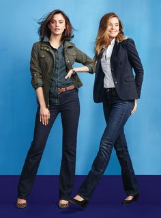 Jeans - dressed up with a blazer and heels, or down with a military jacket and flats.   Lands' End Jeans