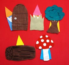 Five Tiny Gnomes Hiding Places Flannel Board
