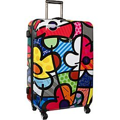 """Cute Luggage! Wish is wasn't so expensive!  Britto Collection by Heys USA Flowers 30"""" Spinner Case - Flowers - via eBags.com!"""