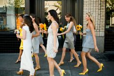 Love the gray bridesmaid dresses with the yellow flowers and shoes.
