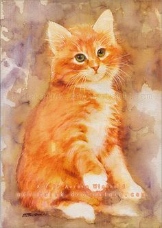 Can I trust you? - PRINT - HANDSIGNED fine art print from watercolor painting (cat kitty kitten Katze gato chat feline) Watercolor Cat, Watercolor Animals, Orange Tabby Cats, Cat Drawing, Animal Paintings, Beautiful Cats, Cat Love, Pet Portraits, Cat Art