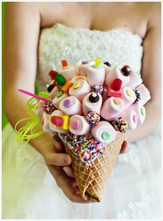 Candy Wedding Bouquet  Love the idea