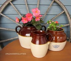decorating the front patio with vintage collectibles, gardening, outdoor living, repurposing upcycling, Stoneware bean pots planted with begonia and impatiens