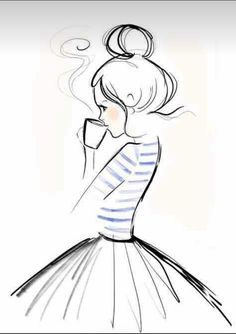 Mondaycoffee, Monday, Coffee, Kera Till, Illustration - l*art - Zeichnung Art And Illustration, Coffee Illustration, Illustration Pictures, Pencil Art Drawings, Art Drawings Sketches, Cute Drawings, Simple Drawings, Girl Drawings, Doodle Drawings