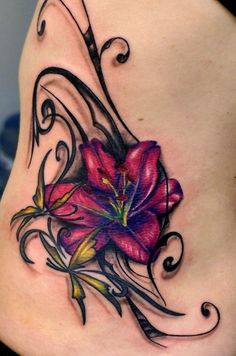 Like & Share Flower Side Tattoo – Pink Flower Tattoo! I like the colors and details Tattoo Lily, Lily Tattoo Design, Flower Tattoo Designs, Tattoo Designs For Women, Flower Designs, Design Tattoos, Pink Flower Tattoos, Delicate Flower Tattoo, Tattoo Flowers