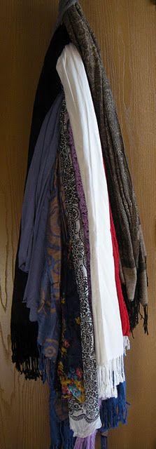 $1 Hanging Scarf Organizer from MD School Mrs -  awesomely simple idea!