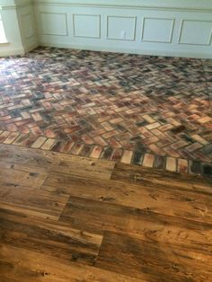 Love wood and brick, but this combo is awful! Ceramic Wood Tile and Brick Flooring click the image for further information Wood Tile Floors, Brick Tiles, Brick Pavers, Brick Flooring, Living Room Flooring, Kitchen Flooring, Hardwood Floors, Grey Flooring, Plank Flooring