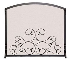 Arched Scroll Fireplace Screen (44 in. L x 34 in. H (26 lbs.) - Vintage Iron), As Shown