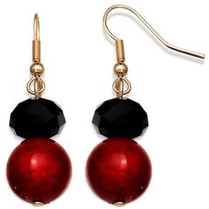 Jules B Blackred Gold-Tone Red And Black Drop Earrings ($7.20) ❤ liked on Polyvore featuring jewelry, earrings, dangling jewelry, beading jewelry, drop earrings, beaded drop earrings et beaded jewelry