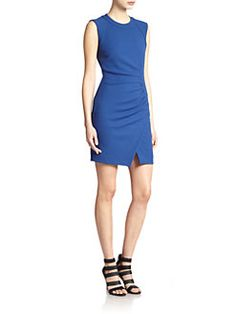L'AGENCE - Asymmetrical Ruched Stretch Jersey Dress