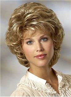 Charming Layered Short Wavy Wig Synthetic Hair Capless 10 Inches for Older Women