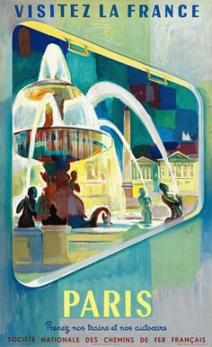 Vintage Railway Travel Poster - Paris.