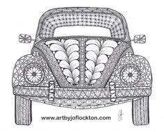 Tangled VW Bug, using Ben Kwok's template (Ornation Creation) Dibujos Zentangle Art, Zentangle Drawings, Doodles Zentangles, Zentangle Patterns, Doodle Drawings, Zen Doodle, Doodle Art, Zen Art, Jolie Photo
