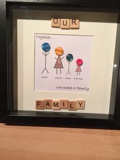Personalised Button Family Frames, gift, wedding, present, Christmas, Scrabble
