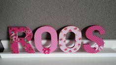 Houten letters 13cm Roos