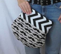 Clutch. #Mustache Fold Over Pouch. Makeup Bag. Small by SmiLeStyles, $24.00 #comboclutch #etsyhandmade #casualchic #fashionaccessory