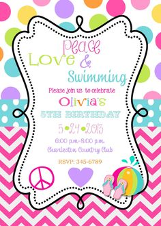 12 Peace Love Swimming Birthday Party invitations with envelopes- pool party