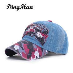 [DingHan] Fashion Casual SWAG Letters Hat Camouflage Baseball Caps For Men Women Snapback Bones Hip Hop Cap Casquette Gorras