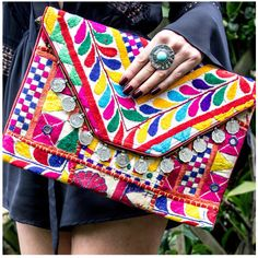Allegra Saria Boho Clutch Bag ($61) ❤ liked on Polyvore featuring bags, handbags, clutches, multicolour, multi colored purses, pochette, bohemian handbags, colorful handbags and allegra