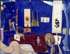 Similar to Brett Whiteley's other major paintings of this period, 'Self-portrait in the studio' exudes a sense of sumptuous living and the liquid presence of the harbour through what he called 'the ecstasy-like effect of Ultramarine blue'. Whiteley's tiny mirror self-portrait also reflects the influence of Eastern art in his portrayal of man as merely part of a larger landscape. However, this painting also hints at a darker side, as Wendy Whiteley explained in 1995:  ... he was warning…