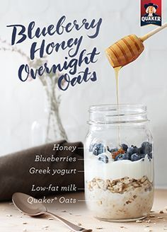 Layer 5 ingredients to make a delicious breakfast in a jar! Mix equal amounts of milk and oats in a jar, top with Greek yogurt, blueberries and a teaspoon of honey for a little touch of sweetness in Quaker® Blueberry and Honey Overnight Oats. Refrigerate overnight and grab in the morning for a hearty on-the-go breakfast.