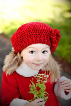 0021 - PDF PATTERN for Children's Crochet Slouchy Hat with Flowers and Leaves - Sizes Included for CHILDREN 3-12 years    www.facebook.com/...