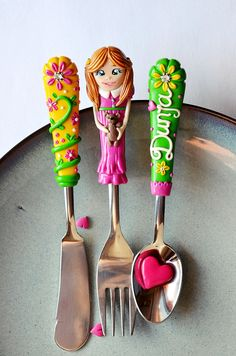 Useful gift Spoon Fork Knife for Girl by RadArtaDesign on Etsy